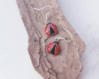Ladybird earrings. Red Ladybug earrings. ladybird earrings. Ladybug insect jewellery jewelry ladybirds.