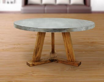 Round Industrial Coffee Table, Zinc Table Top, Zinc Coffee Table, Wood Coffee Table, Urban Farmhouse, Industrial Furniture - FREE Shipping