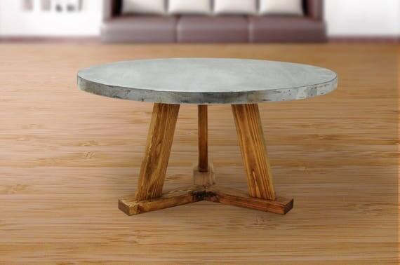 Table basse industrielle ronde dessus de table zinc table - Table basse ronde industrielle ...