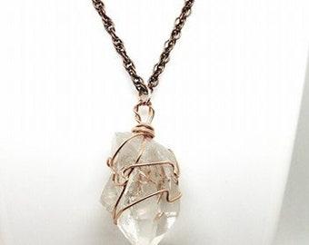 Raw Quartz Necklace, Wire Wrapped Quartz Crystal Necklace, Quartz Pendant, Copper Wire Wrapped, Unique Gift