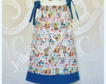 Jelly Totz Hand Made Pillowcase Dress With Hairbow Clip Age 2-3 Cuckoo Clocks and Polka Dots / Toddler Dress / Sundress