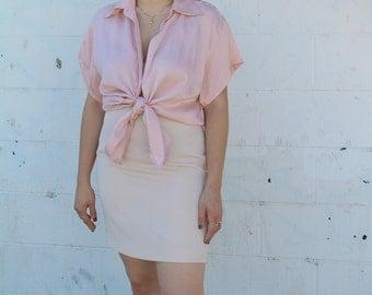 vintage pink silk blouse