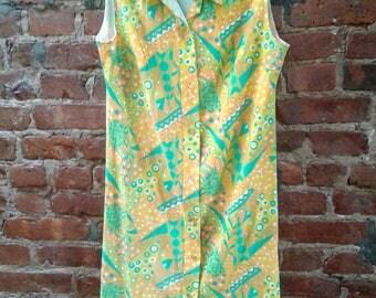 Vintage 1960s Mod Blue Green Orange Psychedelic Shirt Dress
