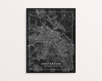 Amsterdam Black City Map Print, Clean Contemporary poster fit for Ikea frame 24x34 inch, gift art him her, Anniversary personalized travel