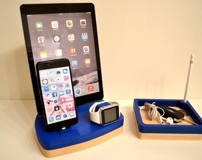 iphone ipad charging cradle docking station gift Apple Watch charging station Apple Watch station stand IDOQQ tre + iDOQQ CUBI Wood Station
