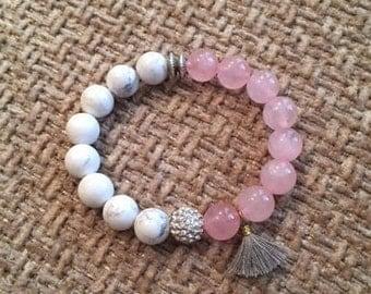 Beaded Stretch Bracelet; 10mm White Howlite Beads; 10mm Pink Beads; Beaded Bracelet; 10mm Crystal Rhinestone