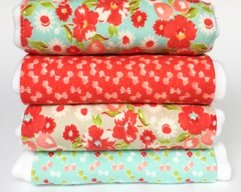 Flannel Cloth Diaper Burp Cloth - Set of 2, 3 or 4 - Baby Girl
