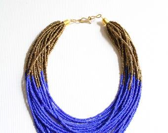Kenyan necklace, Beaded necklace, African necklace, African jewelry, Maasai necklace, Blue necklace, Gold necklace