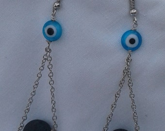 lava earrings with classic Greek evil eye