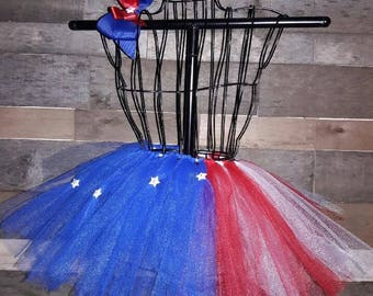 Patriotic Tutu with Matching Bow