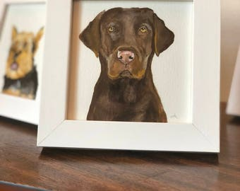 Custom Pet Portrait Watercolor Painting Framed Art