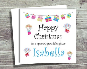 Personalised Christmas Cards, Granddaughter Christmas Card, Daughter, Sister, Niece, Free UK Shipping