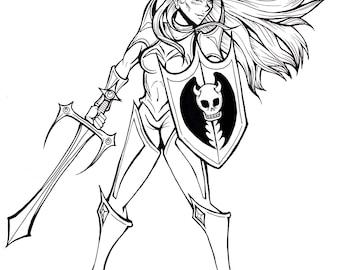 9x12 Manga/Comic Style Line Art Original Character Illustration - Artist Originals!! (Monochrome Lineart Only)