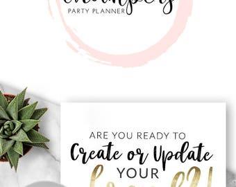 233 - Champers, LOGO Premade Logo Design, Branding, Blog Header, Blog Title, Business, Boutique, Custom, Gold, Pink, Simple