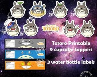 Totoro, My Neighbour Totoro, Totoro Cupcake, Totoro Topper, Totoro Birthday, Totoro Party, Totoro Printable
