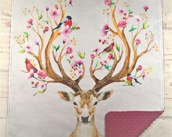 Personalized woodland minky baby blanket, Custom girl blanket with name, Baby girl minky blanket deer, Toddler girl deer nursery bedding