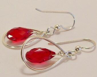 Swarovski Crystal and Sterling Silver Earrings, Swarovski Red Crystal Earrings, Siam Ruby Crystal Jewelry, Crystal Jewelry, Handmade Jewelry
