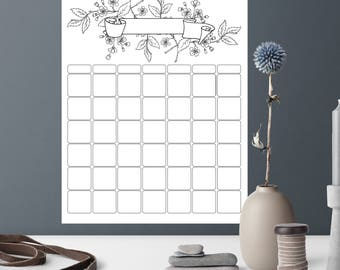 Perpetual Calendar Printable, Letter Size Printable Perpetual Calendar, Floral Spray Design, Perpetual Wall Calendar, Color It