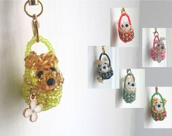 PUPPY IN A BASKET Mobile Phone Straps / Key Ring Charms