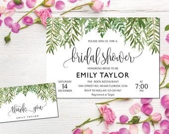 Bridal Shower Invitation, Greenery Wedding Printable , Greenery Bridal, Editable Bridal Shower Invitation, Greenery, Instant Download, ABR11