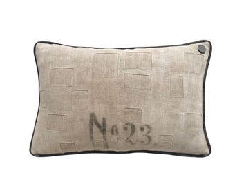"Antique German Grain Sack Pillow from 1911 -  20"" x 13"""