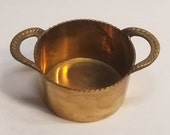 Vintage Round Solid Cast Brass Cachepot Planter with Double Handles, Made in India