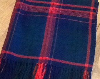 Throw handwoven Red,Navy,Green wool