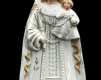 Gorgeous Antique Madonna with Child Jesus Porcelain Statue Blessed Virgin Mary 7