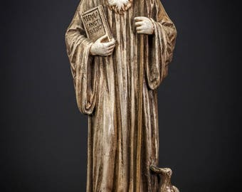 "St Benedict of Nursia Statue | Saint of Europe Figure | RARE Antique Polychromed Plaster Figurine | 13"" Large"