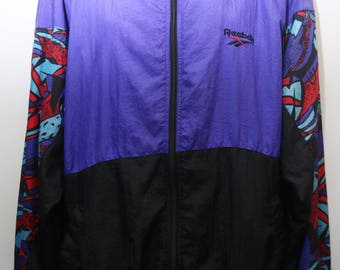 "Rare 90's Vintage ""REEBOK"" Abstract Patterned Colorful Windbreaker Jacket  Sz: X-LARGE (Men's Exclusive)"