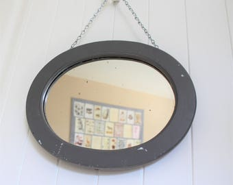 Oval Wall Mirror Vintage Painted Grey Wood Hanging Chain Framed