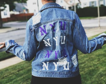 New York University Hand Painted Denim Jacket