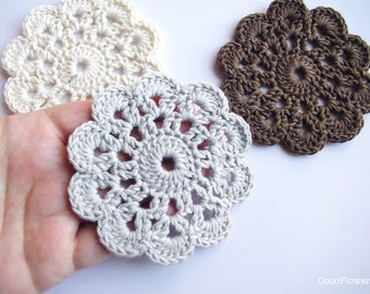 petit napperon fleur applique crochet - 8.5 cm - 3 couleurs au choix : blanc gris marron - rustique chic romantique - fait main