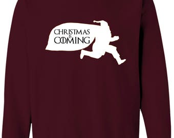Game of Thrones Santa Is Coming House Santa Funny Men's Long Sleeve Sweatshirt