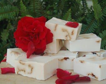 DRIED rose petal and sandalwood organic handmade soap