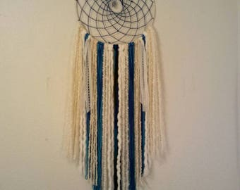 Extra Large Boho Blue, Turquoise and White Dream Catcher, Home Decor, Blue Calcite Crystal Healing, Unique Gift, Native Artist, Nursery Gift