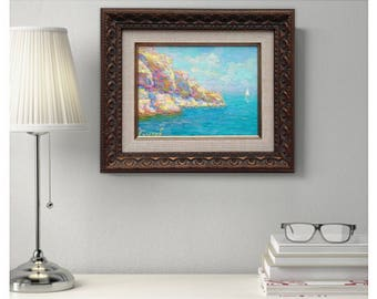 original oil painting framed painted sea coast seascape ready to hang sailboat classical fine art wall home interior decor gift for husband