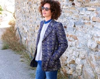 Vintage 80s 70s Blue print blazer, Embroidered blazer, Italian designer blazer, Large blazer, retro blazer, winter blazer, blue coat T small