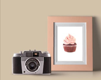 Pink Cupcake Drawing Print - Wall Art - Food Art