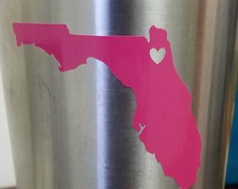 Florida/State of Florida Decal/Yeti Decal/Florida Cities/State Heart/Car Decal/Florida Decal/Heart Florida/Vinyl Decal