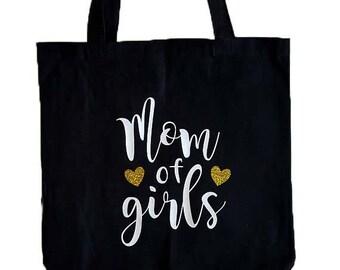 Mom of Girls Black Canvas Tote Bag