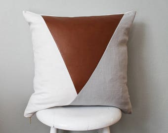 Faux Leather/Linen Geometric pillow cover