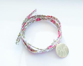 Pink summer floral liberty wrap bracelet with a sterling silver hope charm