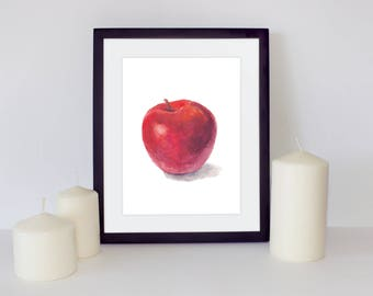 Fruit Print, Apple Printable, Red apple print, Watercolor Painting, Apple Art, Apple Print, Watercolor apple, Kitchen printable art