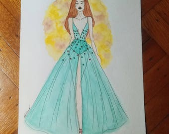Everyday Cinderella - Fashion Figure Original Watercolor Painting (11 in x 15 in)