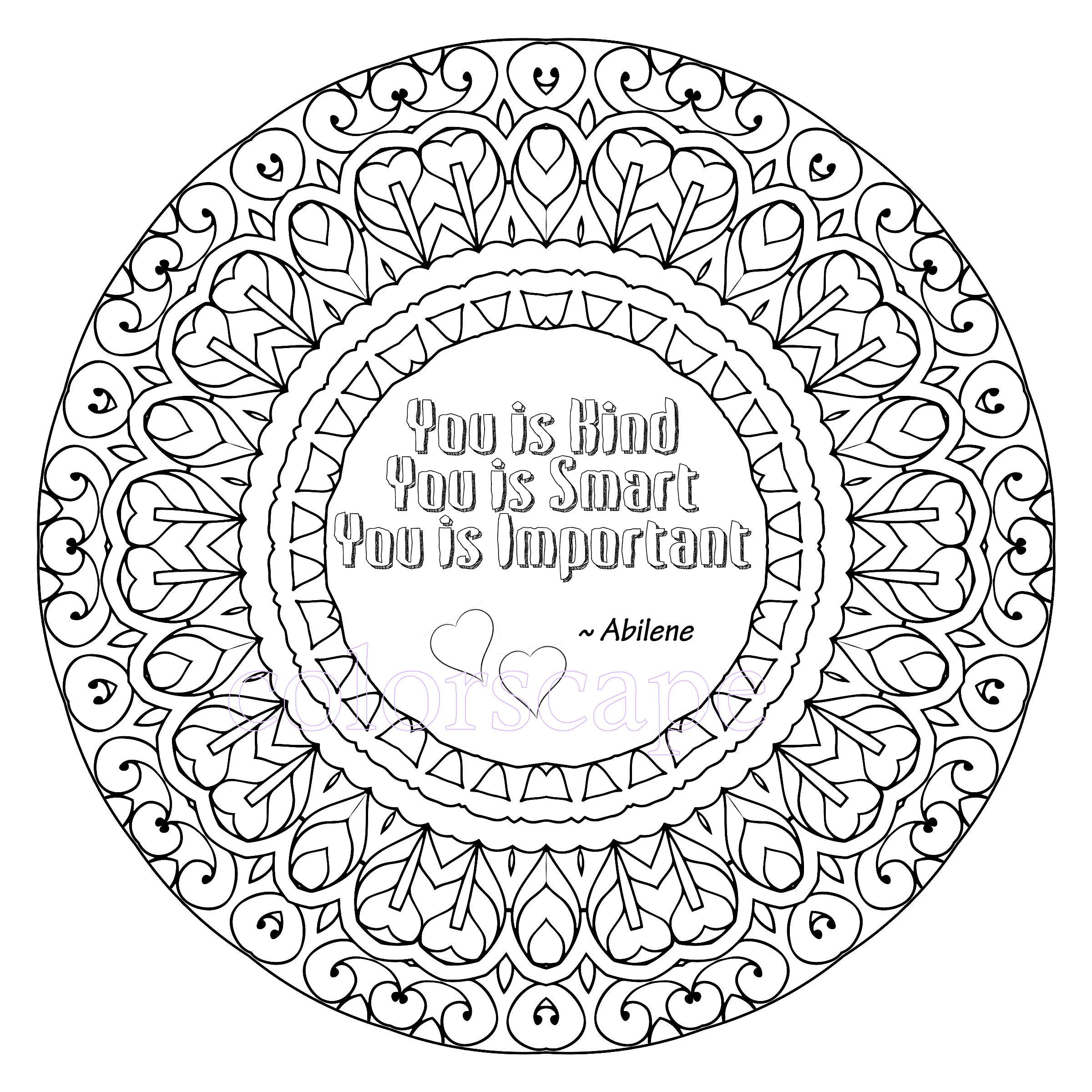 Mandala coloring pages with quotes -  Zoom