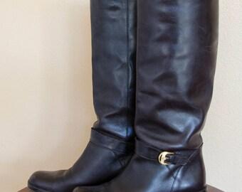 Etienne Aigner Women Sz 6 1/2M Vintage tall dark brown leather 1990s women riding boots.