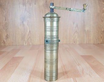 A mill - Vintage brass Turkish coffee mill - Antique pepper grinder - Kitchen decor - 1930s.