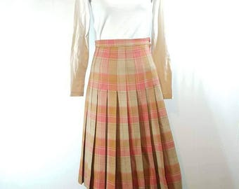 Vintage pleated skirt, retro chic, pleated skirt, full skirt, checkered skirt, made to measure // XS-S size, Made in Bulgaria.