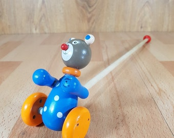 Wooden push toy - Wooden toy for toddler - Wooden toy on wheels - Wooden bear -   Wooden Toys for Natural Activity - Handmade